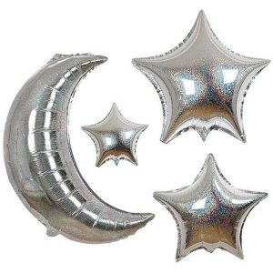 Six moon and star balloons